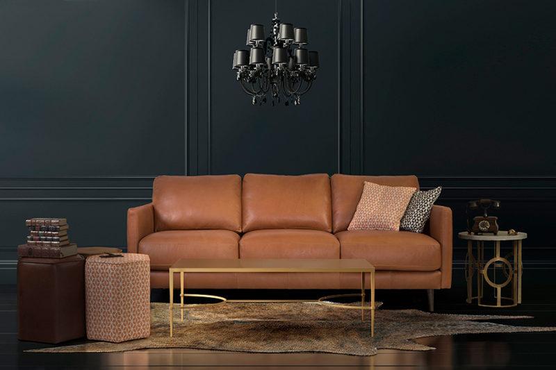 Sofá de tres plazas en piel marrón Harlem
