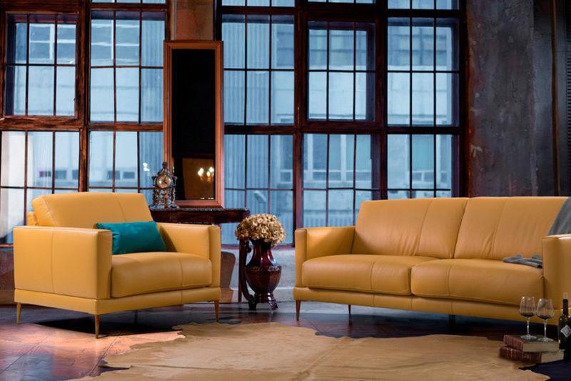 Tresillo clásico tapizado en piel Manhattan
