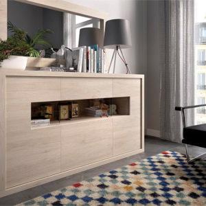 Aparador con espejo para salón madera natural