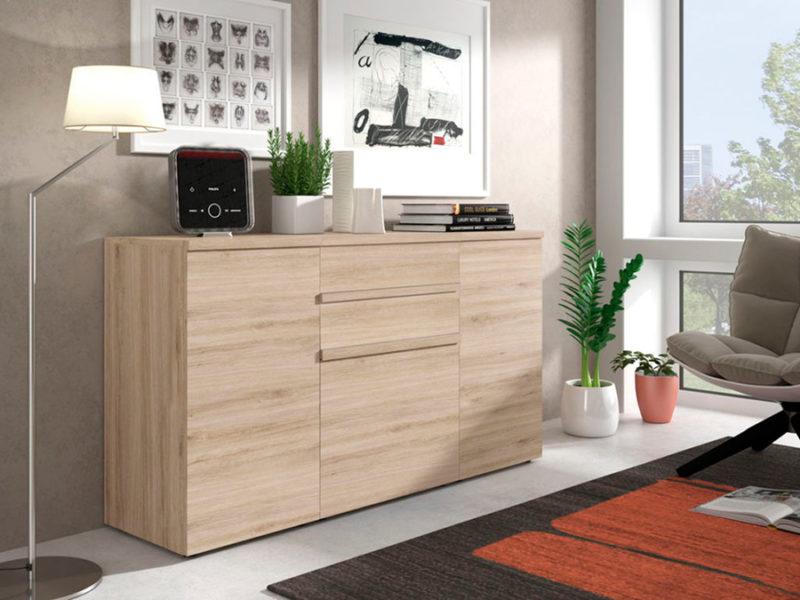 Aparador madera natural moderno con tres puertas