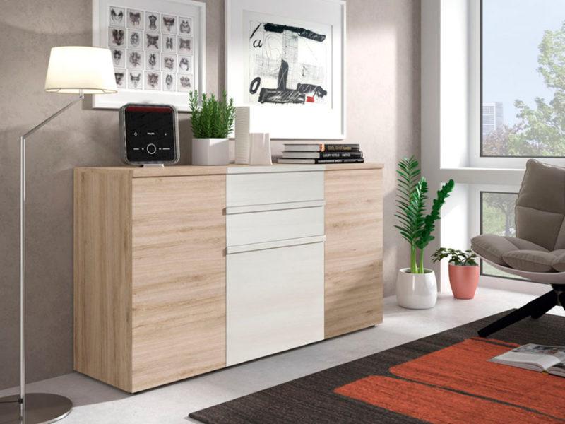 Aparador madera natural combinado blanco con tres puertas