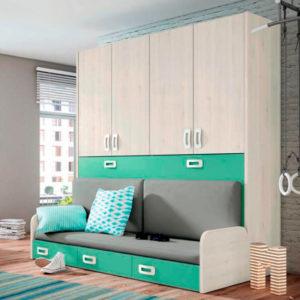 Dormitorio juvenil con cama abatible: el sofá se convierte en cama