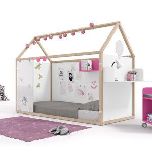 Cama casita Montessori para dormitorio infantil con pizarra