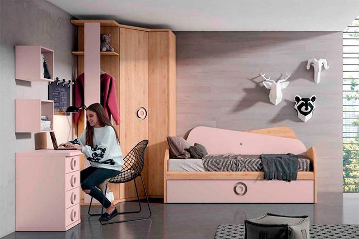 Cama nido original para dormitorio de chicas, en madera combinado con lacado