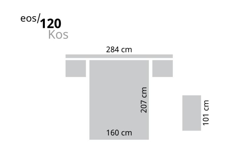 Dormitorio de matrimonio blanco con cabecero LED medidas