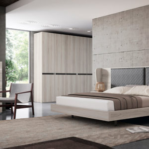Dormitorio de matrimonio completo con cama, cabecero, mesillas, armario y sinfonier