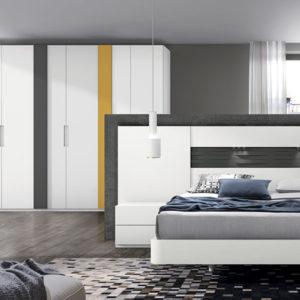 Dormitorio de matrimonio con armario de 6 puertas, acabado blanco y pizarra