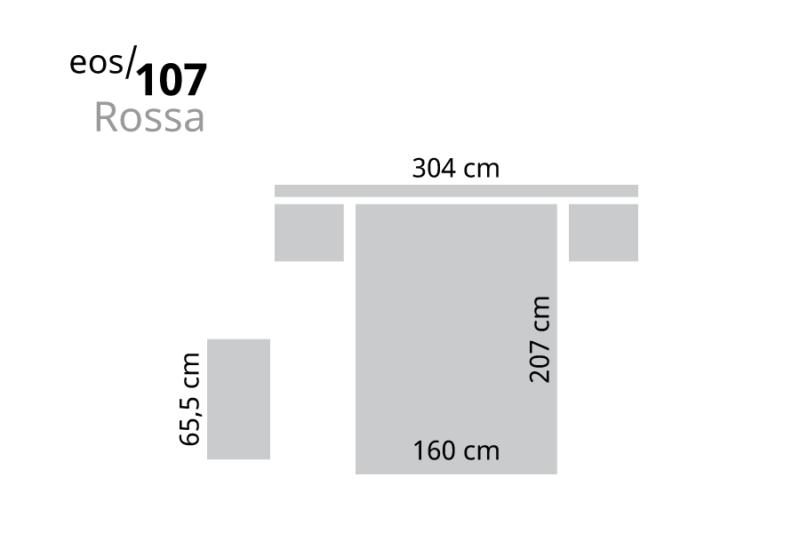 Dormitorio de matrimonio con armario de 6 puertas medidas