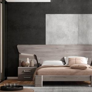 Dormitorio de matrimonio de diseño con cama canapé elevable