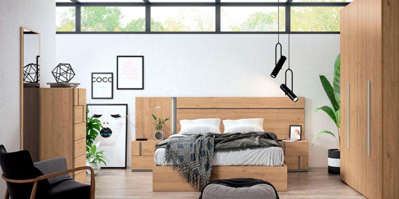 Dormitorio de matrimonio de madera natural combinado con gris