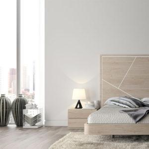 Dormitorio de matrimonio minimalista acabado madera con mesillas y sinfonier
