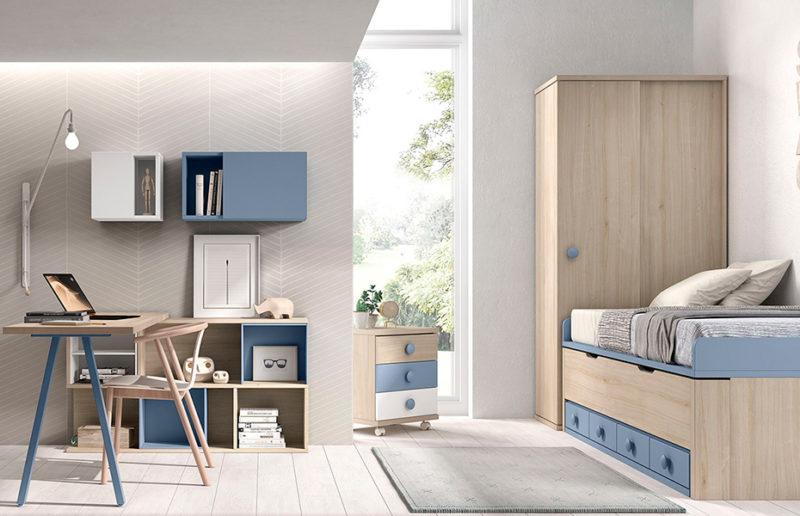 Dormitorio infantil niño con cama nido, armario y escritorio