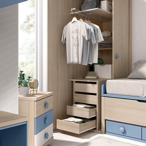 Dormitorio infantil niño en madera con armario y almacenaje