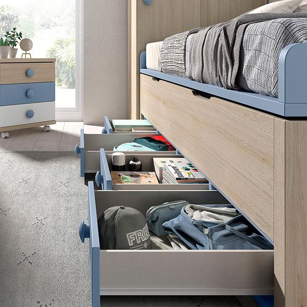 Dormitorio infantil niño con cama nido compacta con cajones de almacenaje
