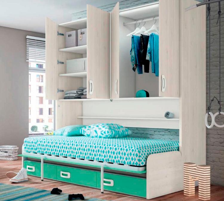 Muebles de dormitorio para jóvenes con sofá que se transforma en cama