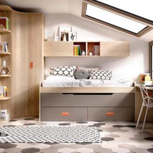 Dormitorio juvenil compacto en madera con dos camas nido, armario y escritorio