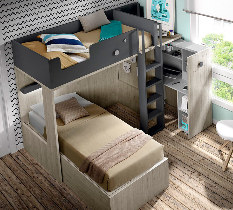 Dormitorio juvenil con literas y armario extraible