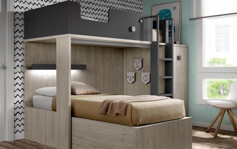 Dormitorio juvenil con literas en madera