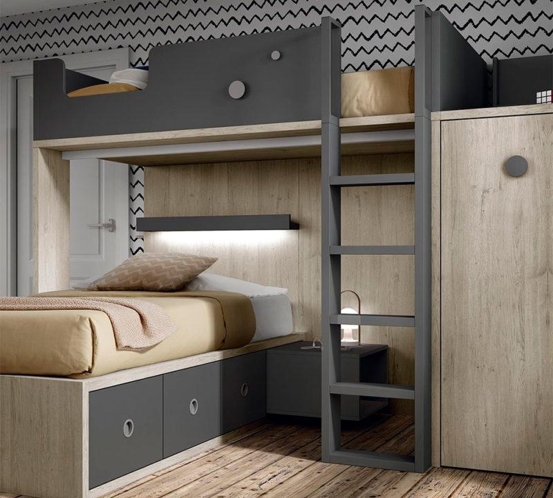 Dormitorio juvenil con literas original de diseño moderno