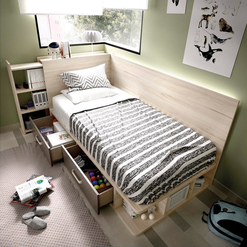 Dormitorio juvenil pequeño con muebles en madera de haya