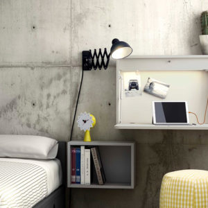 Escritorio de pared plegable con punto de luz y USB