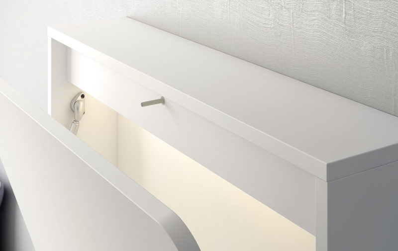 Escritorio de pared plegable con luz, USB y fondo imantado