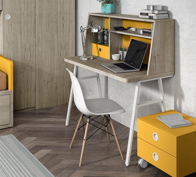 Escritorio juvenil madera con USB y altavoz integrado con bluetooth