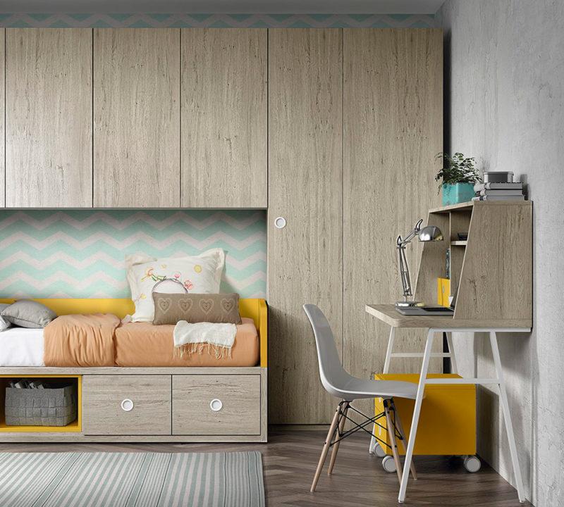 Escritorio juvenil madera para dormitorio, original y moderno