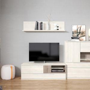 Muebles de salón estilo nórdico con módulo tv madera natural