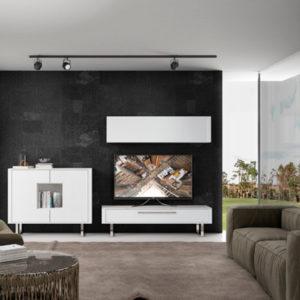 Muebles de salón minimalista con módulo tv y aparador
