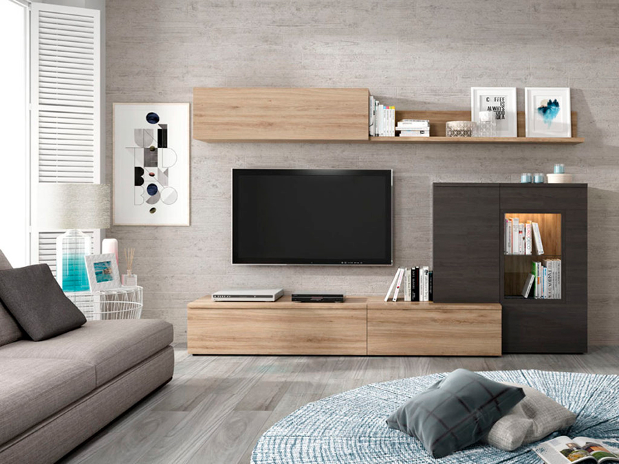 Muebles de salón modernos con modulo tv y vitrina