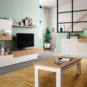 Muebles de salón blanco y madera modular