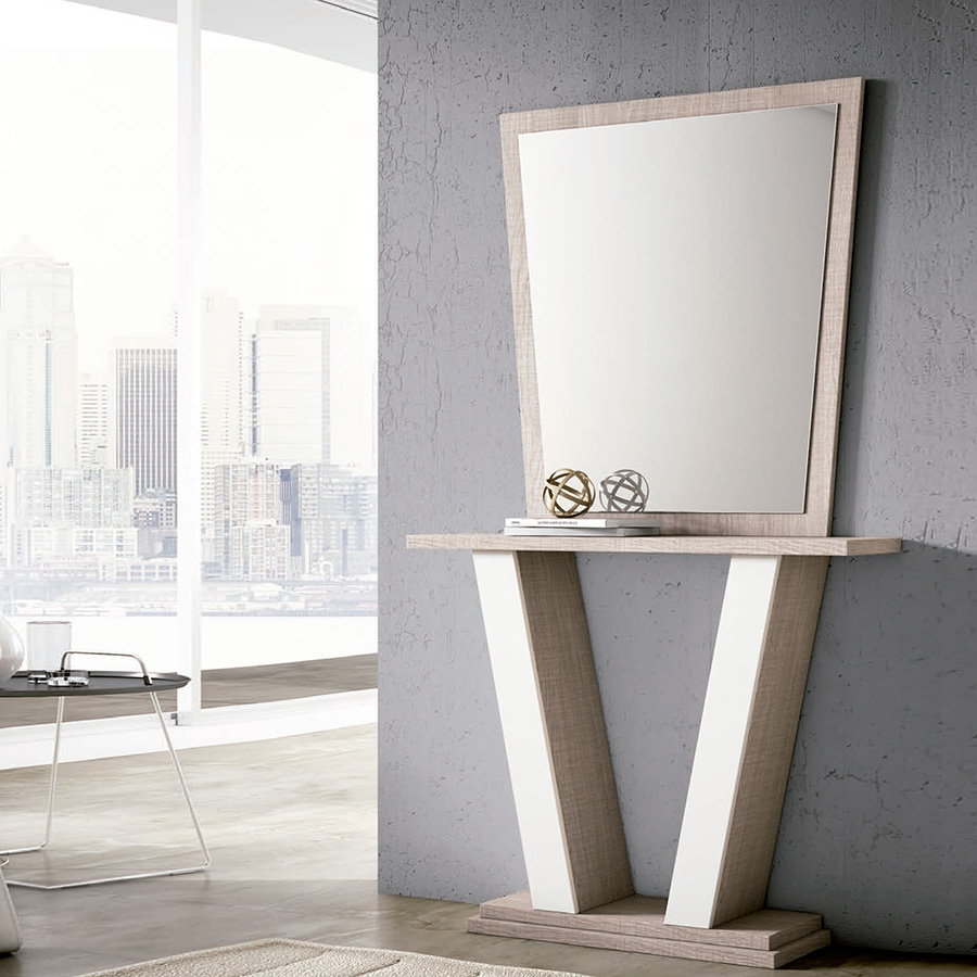 Recibidor madera combinado blanco con espejo