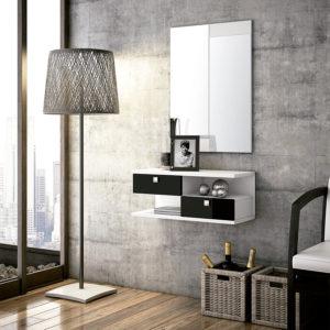 Recibidor moderno con espejo y consola suspendida lacado en blanco y negro