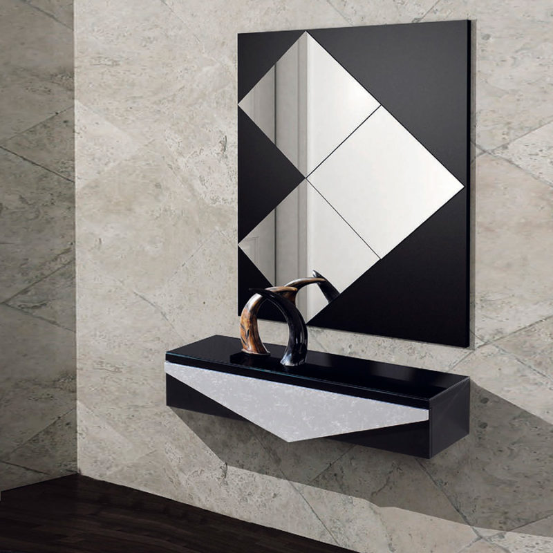 Recibidor original con espejo en negro y plata