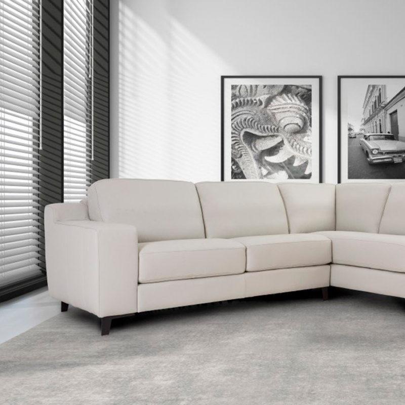 Sofá blanco de piel modular modelo Clyo