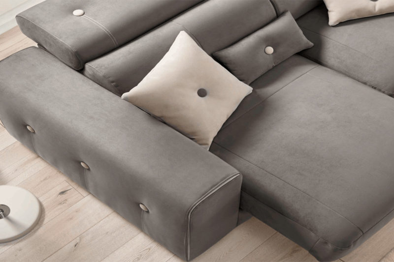 Sofá con chaise Longue gris Heros