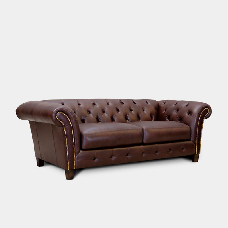 Sofá Chester de piel marrón Thornton