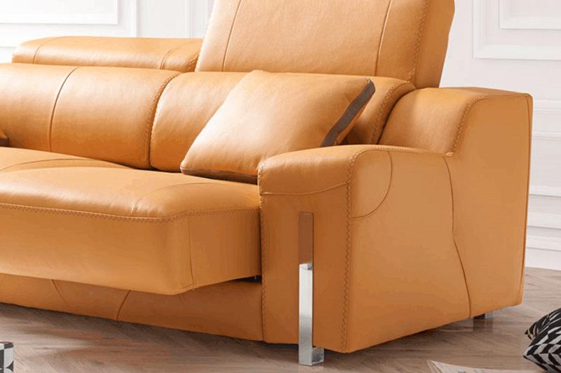 Sofá de piel autentica asientos deslizantes