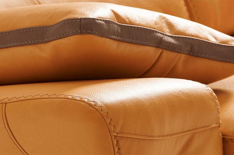 Sofá de piel autentica costuras personalizadas