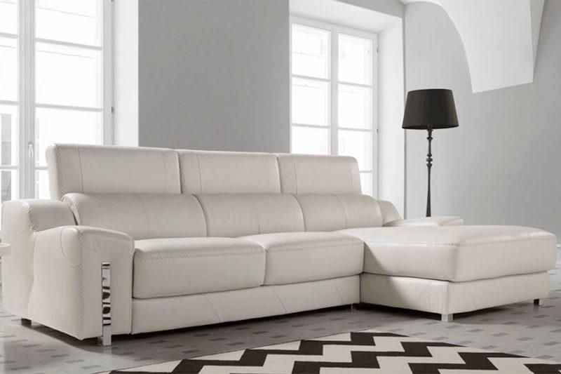 Sofá de piel autentica blanco