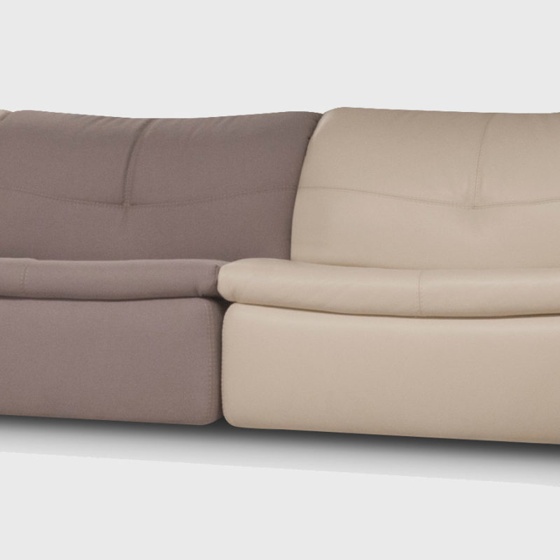 Sofá sin brazos tapizado dos colores